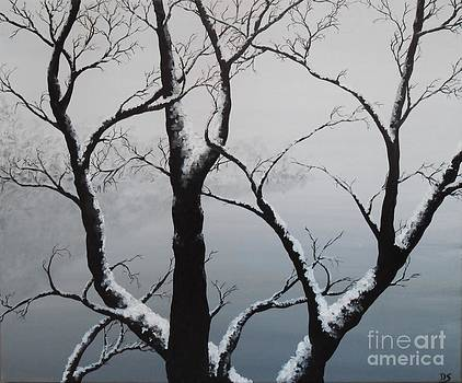 Series acrylic paint tree under the snow by Danse DesSonges