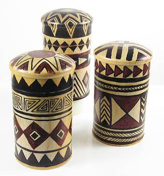 Set of Hand Painted Wood Spice Jars with rack by Vagabond Folk Art - Virginia Vivier