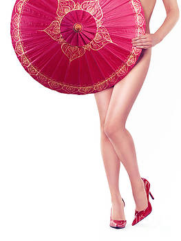 Sexy Asian woman with red oriental umbrella by Oleksiy Maksymenko