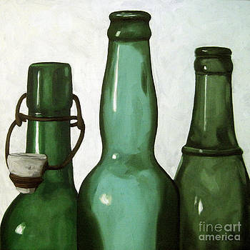 Shades of Green - bottles by Linda Apple