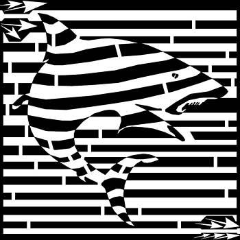 Shark Attack Maze by Yonatan Frimer Maze Artist