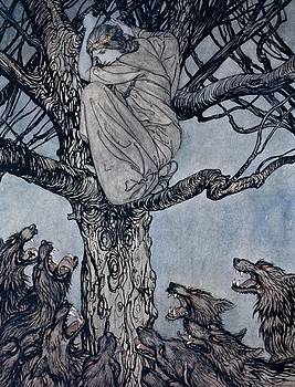 Arthur Rackham - She looked with angry woe at the straining and snarling horde below illustration from Irish Fairy