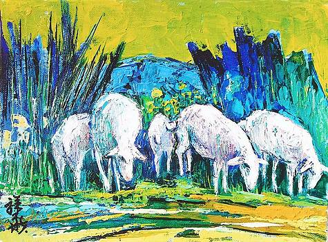 Sheep With Blue And Yellow Landscape by Siang Hua Wang