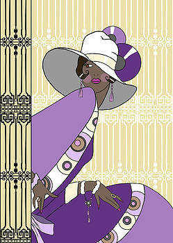Nancy Lorene - SHELBY in Cream and Purple