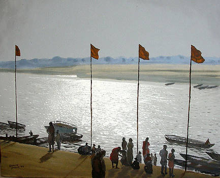 Shimmering Water at the Ghat by Ramesh Jhawar