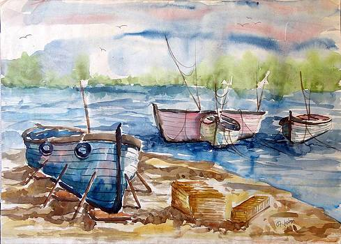 Ship Harbour Painting by Hashim Khan