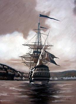 Ship in sepia by Janet King