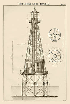 Jerry McElroy - Public Domain Image - Ship Shoal Lighthouse Drawing