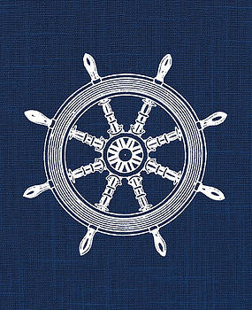 Ship Wheel Nautical Print by Jaime Friedman