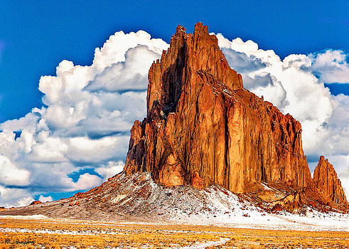 Shiprock And Clouds  by Bob and Nadine Johnston