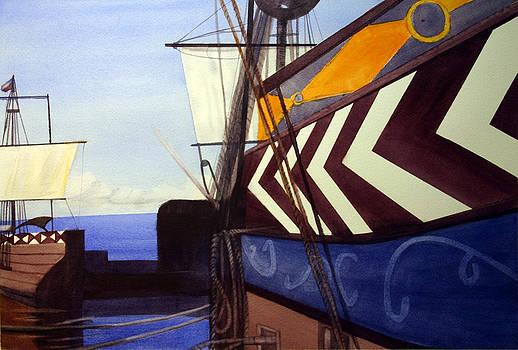 Ships In Jamestown Bay by Randy Bell