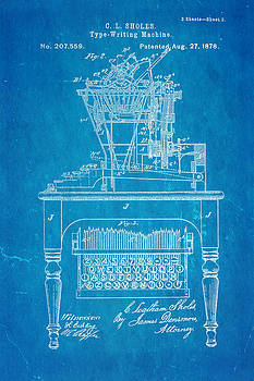 Ian Monk - Sholes Qwerty Keyboard Patent Art 1878 Blueprint