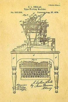 Ian Monk - Sholes Qwerty Keyboard Patent Art 1878