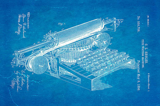 Ian Monk - Sholes Type Writing Machine Patent Art 1896 Blueprint