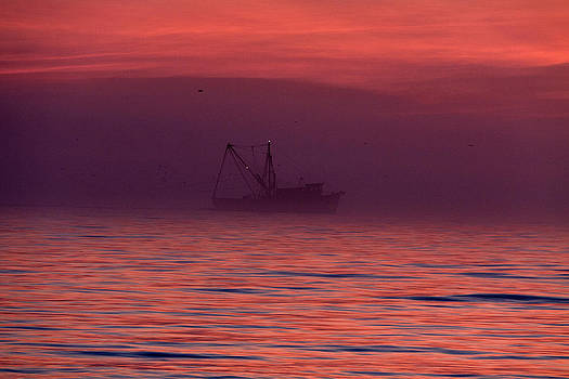 Shrimp Boat on Foggy Morning by Jim Ziemer