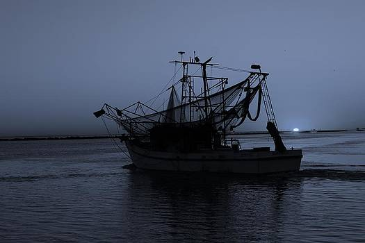 Shrimpboat in Blue by Ron  Maxie