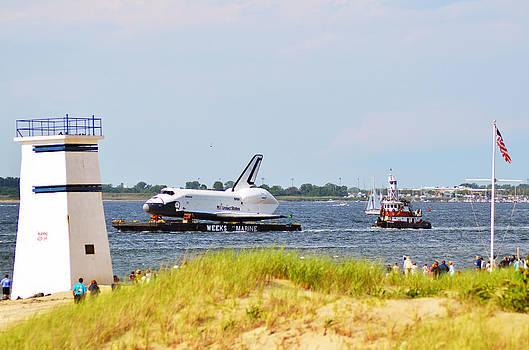 Shuttle Enterprise Passing Breezy Point Watchtower by Maureen E Ritter