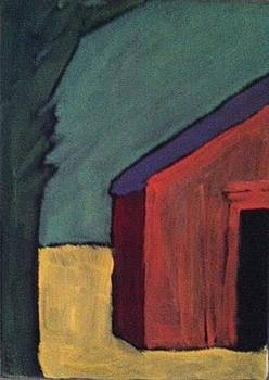 Shy Red Barn With Green Tree by Molly Fisk