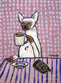 siamese Cat at the Cafe by Jay  Schmetz