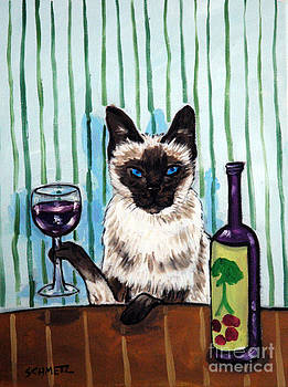 Siamese Cat at the Wine Bar by Jay  Schmetz