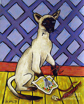 Siamese Cat Doing Needlepoint by Jay  Schmetz