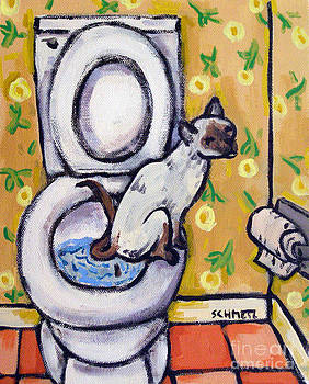 Siamese Cat in the Bathroom by Jay  Schmetz