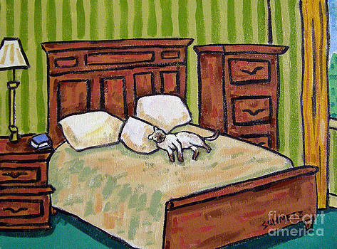 Siamese Cat in the Bedroom by Jay  Schmetz