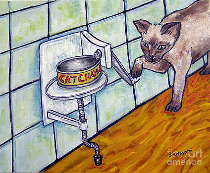 Siamese Cat Opening a Can by Jay  Schmetz