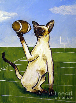 Siamese Cat Playing Football by Jay  Schmetz