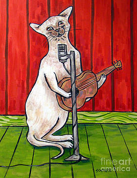 Siamese Cat Playing Guitar by Jay  Schmetz