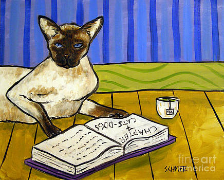 Siamese Cat Reading with Green Tea by Jay  Schmetz