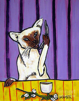 Siamese Cat Talking on a Cell Phone by Jay  Schmetz
