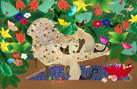Siameses en chaise con flores Limited edition 2 of 15 by Gabriela Delgado
