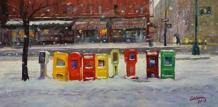 Sidewalk Sentinels in Early Snow by Peter Salwen