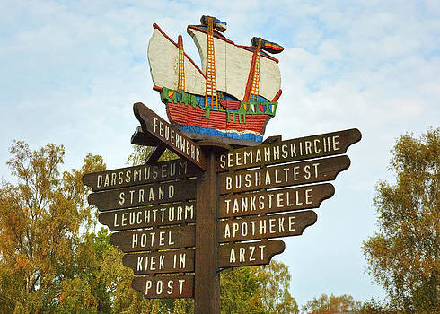 Signpost at Prerow Germany by David Davies