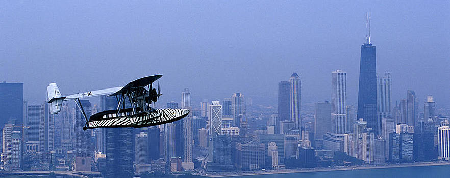 Sikorsky S-38b Replica Against The Chicago Skyline by Austin Brown
