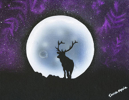 Silhouette Elk in Moon by Dawn Marie Black