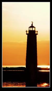 Rosemarie E Seppala - Silhouette Of Lake Michigan Lighthouse On Muskegon Shoreline