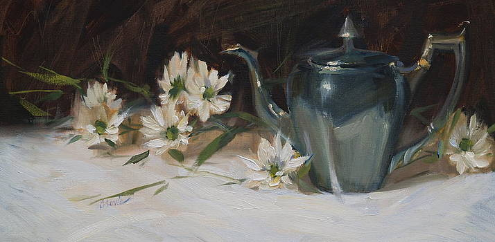 Silver and Daisies by Judy Crowe
