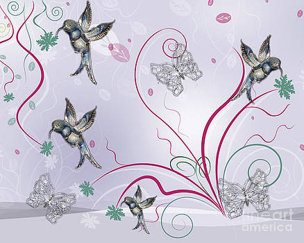 Linda Rae Cuthbertson - Silver Hummingbirds and Butterflies