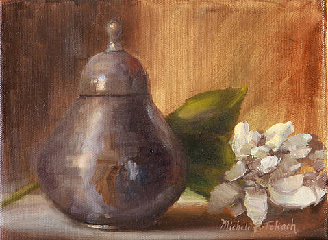 Silver Jar with Flowers by Michele Tokach