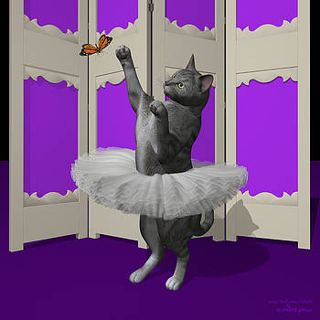 Silver Tabby Ballet Cat on Paw-te by Alfred Price
