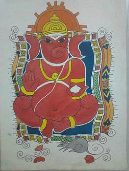 Sindhur Ganesha by Mangala Shenoy