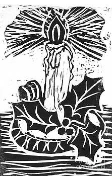 Ellen Miffitt - Single Candle with Holy Sprig  Block Print