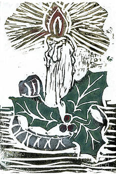 Ellen Miffitt - Single Candle with Holy Sprig  Block Print in color