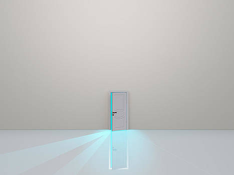 Single door in pure white space emaits light by Bruce Rolff