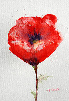 Single Red Anemone by Marna Edwards Flavell