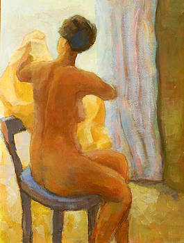 Sitting Nude Woman  by Alfons Niex