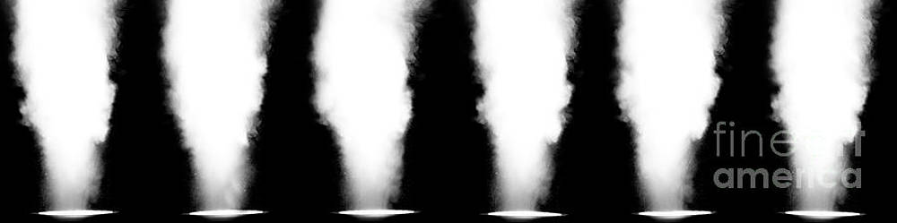 Simon Bratt Photography LRPS - Six stage lights in a row filled with smoke