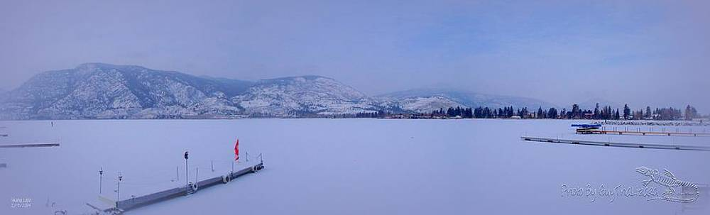 Guy Hoffman - Skaha Lake PANORAMA Frozen - New Snow on top the ice 02-07-2014